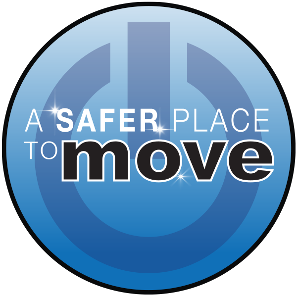 a power button that says a safer place to move.